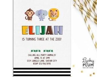 Safari Animal Birthday Invitation / Elephant Monkey Lion Invite / Zoo Invite / Jungle Leaf Stripes Invite / Forest Invite / *Digital file