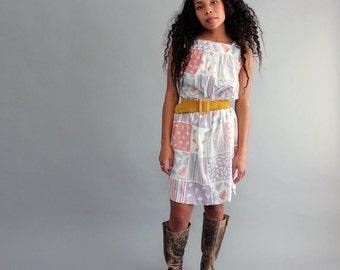 pastel vintage sundress, medium large . leaf print dress . midi dress . leaf dress . womens dress . vintage womens clothing