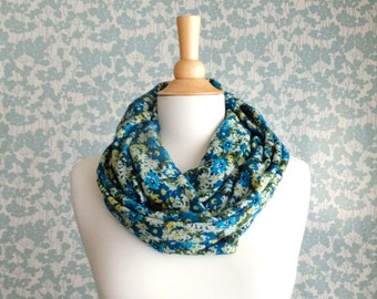 Infinity Scarf Floral print green teal yellow grey spring sweater knit chunky circle tube loop cowl scarf hostess birthday party gift