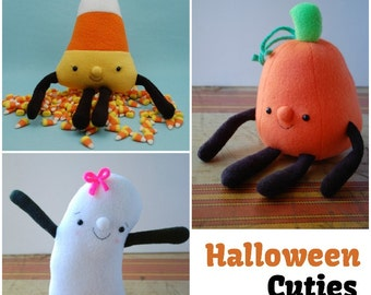 Halloween Cuties 3 Plush Toys to Sew - Ghost, Pumpkin, and Candy Corn