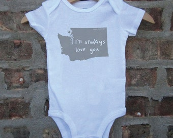 washington baby clothing, washington baby gift, seattle bodysuit, washinton shower gift, baby neutral, cute baby gift, free shipping