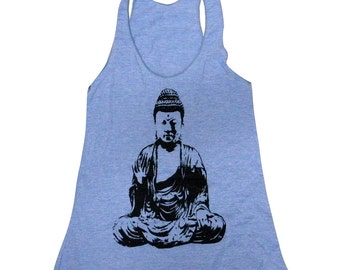 Buddha Tank Top -  Yoga Meditation Zen American Apparel Tri-Blend Tank - Available in sizes S, M, L