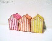 Beach Huts - Red Orange Yellow