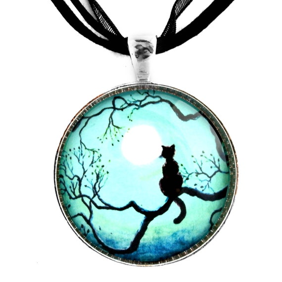 Black Cat Necklace Silhouette Teal Moon Handmade Jewelry Pendant
