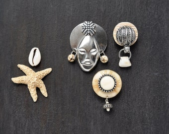 3 Tribal Mask Fridge Magnets -  silver metal face natural bone - recycled vintage jewelry parts