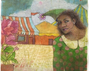 Mixed Media Circus Tent Girl Portrait Original gelli print Art monotype Printmaking DelPesco
