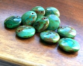 Czech glass lentil bead turquoise picasso 12mm pack of 10