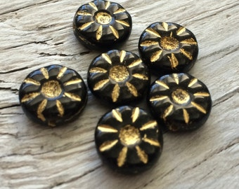 Czech glass beads flower daisy coin black and gold pack of 6