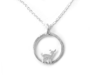 Circle Fawn Charm Necklace with Bright White Finish - Doe in a Circle