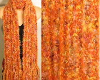 Hand Knit Gypsy Scarf Orange