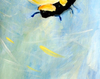 Bee Art Print Large Size Print of a Bee in the Sky Flying Oil Painting Print