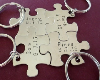 Bridesmaid Gift Puzzle Piece Set Keychain - Multi Number of Pieces- Hand Stamped Personalized -  Wedding Date- Bridal Party - Gift Under 25
