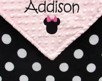 Baby Blanket, Baby Girl Blanket, Minnie Mouse Inspired Blanket , Personalized Baby Girl Blanket , Minky Blanket for Baby Girls
