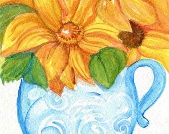 Sunflowers watercolor painting original, blue and white vase, original painting of sunflowers watercolor painting, sunflower decor