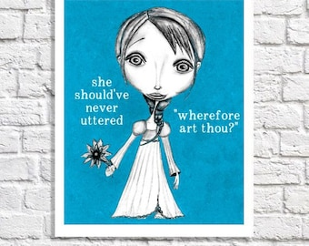 Romeo And Juliet William Shakespeare Inspired Typographic Print Quote Poster Funny Illustration Theatre Sign Literary Artwork Teacher Gift