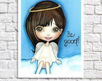 Angel Art Print Of Painting Guardian Angel Wall Decor Girls Artwork Religious Nursery Christian Wall Art Cute Angel Picture Art For Children