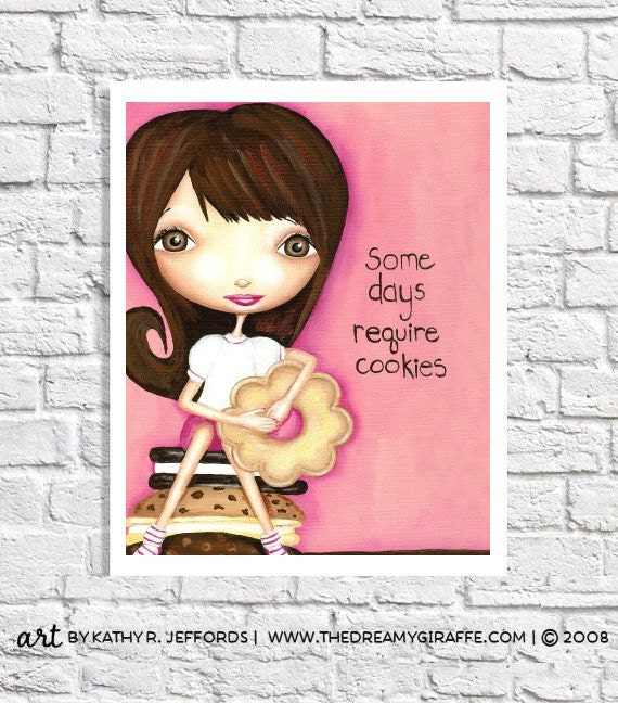 Some Days Require Cookies Quote Dessert Print Cookie Art Pink Kitchen Bakery Decor Office Wall Art College Dorm Room Ideas Gift For Baker