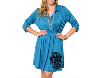 Sugar Skull Dress Womens Plus Size Clothing 2XL Trendy Dresses Cute Skulls tunic screen printed clothing pin up dress 3XL