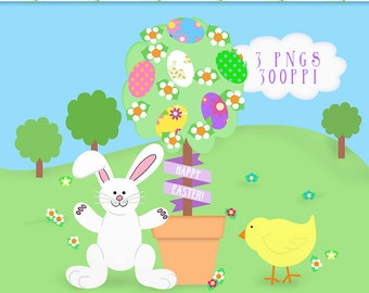 Easter Clip Art, Easter Topiary, Easter Tree Graphics, Easter Trees Clipart, Digital Art, Easter Graphics, Bunny and Chick Cliparts, Clipart