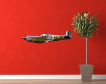 WW2 British Spitfire Mk4 Fighter Aircraft Wall Decal - Design by Vincent Bourguignon