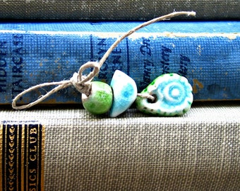 Green and Blue Bird Bead Bundle with Paisley Charm