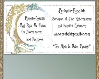 Siren; Mermaid Victorian revival calling cards for you to print
