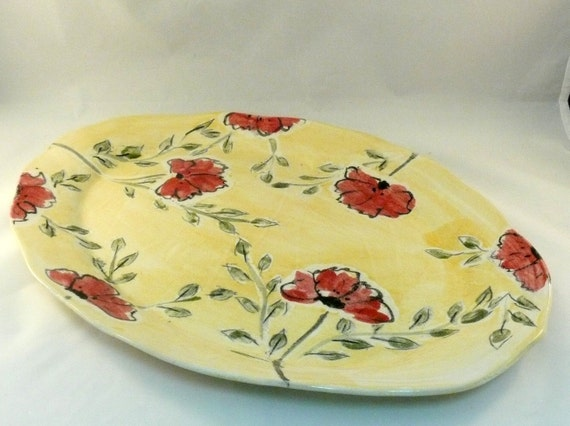 Wedding Gift For Artsy Couple : Giant Platter, Wedding Gift for Couples, Field of PoppiesServing ...