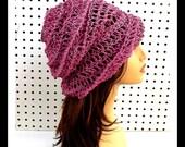 Pink Crochet Hat Womens Hat, Summer Hat for Women, Crochet Beanie Hat, Pink Hat, OMBRETTA Beanie Hat