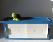 Vintage - Shelf - Wall Cabinet - Bathroom Sink Shelf - Storage - Towel Bar - Blue - White - Sliding Doors - Retro - Kitsch - Catchall