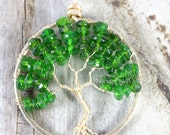 14k Gold Chrome Diopside Tree of Life Pendant Russian Siberian Emerald May Birthstone Fine Jewelry Wire Wrapped Phoenix Fire Designs RTS