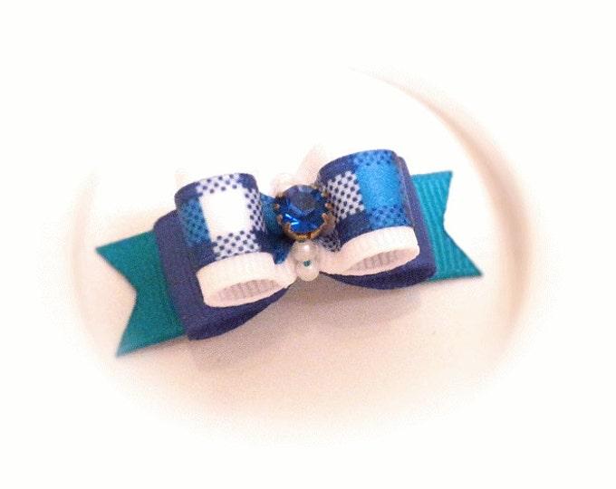 Blue Dog Bow, Dog Bow for Boys, Pet Hair Bow, Small Dog Bow, Top Knot Bow