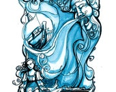 Blue Tempest Print - Shakespeare Illustration - storm sea and wind