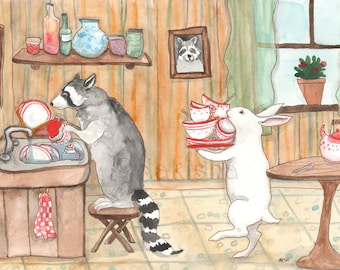 RESERVED for LS - Original Art - Tea with Raccoon - Watercolor Rabbit Painting