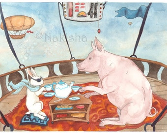 RESERVED for LS - Original Art - Tea with Pig - Watercolor Rabbit Painting