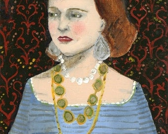 fine art print - she wore jewels made of memories - giclee print of original oil painting