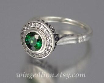 THE SECRET DELIGHT 14k gold Green Tourmaline engagement ring