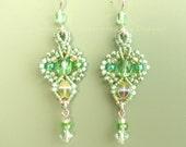 Micro Macrame Earrings in Celery Green,  Pale Green Beaded Earrings- Fleur Style