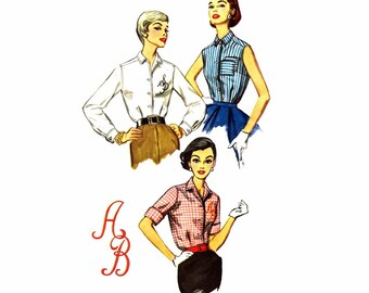 1950s Misses Blouse Simplicity 2195 Vintage Sewing Pattern Monogrammed Blouse Front Buttoned Bust 34