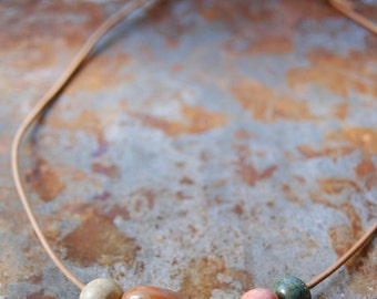 Sweetest Dreams / Garden Tone Handmade Ceramic Bead and Leather Necklace
