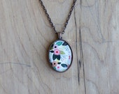 Flowers - mini watercolor gouache art painting print necklace pendant and chain