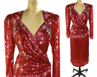 Red Sequin & Beaded Silk Cocktail Dress / Vintage 1980s Evening Gown / Never Worn / New Old Stock NOS / Red Carpet / Hollywood Gala