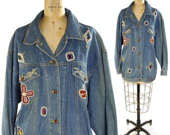 80s Beaded Denim Jacket / GLAM Bedazzled Embellished Oversized Slouchy Fit Novelty Jean Jacket Rhinestones Embroidered Beads / Medium