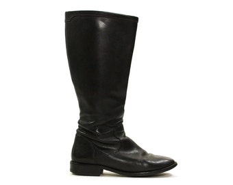 Cole Haan Leather Boots / Black Knee High Zip Up Equestrian Riding Boots / Vintage 1990s / Women's Size 9.5