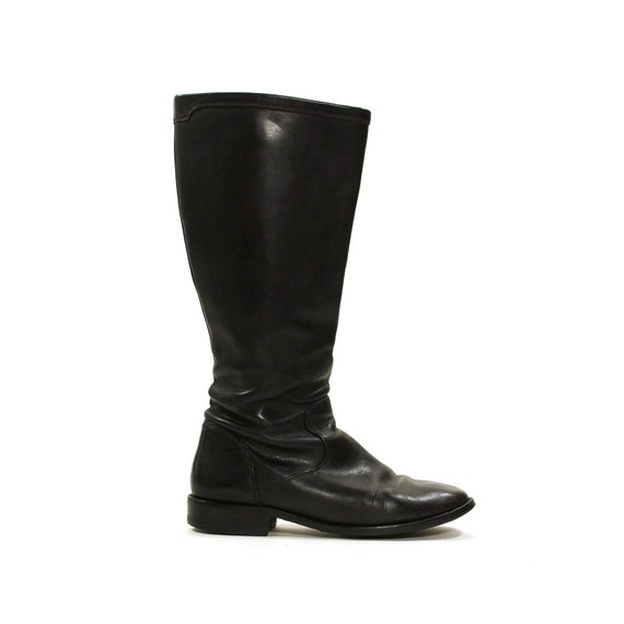 cole haan leather boots black knee high zip up equestrian