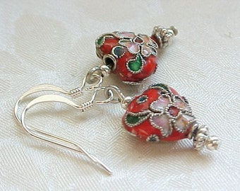 Red Heart Earrings Engagement Gift Bridal Shower Gift Cloisonne Earrings Red Earrings Gifts forMoms Gift For Wedding Mothers Day Gifts