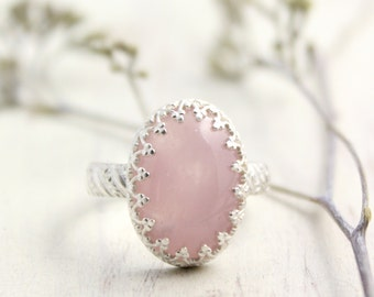 Rose Quartz Fancy Bezel Silver Ring