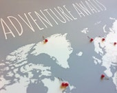 DIY Travel Map, World Map Poster With Tacks or Heart Stickers, Adventure Awaits Map of World Poster With Countries Outlined and Pins, 16x20