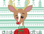 happy christmas reindeer sweater - holiday cards - set of 10