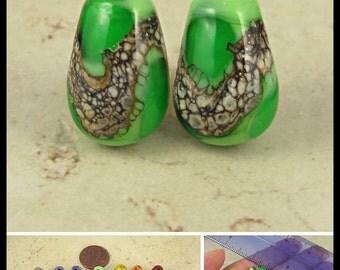 Teardrop Lampwork Glass Bead Pair with Organic Web Small Grass Green