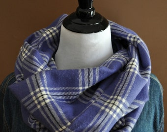 Super Warm and Cozy Flannel Infinity Scarf / Purple Black Cream Plaid  / Christmas Gift / Loop Circle Scarf